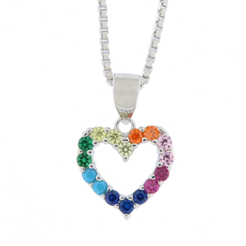 Anheng rh.sølv hjerte m/multifargede stener