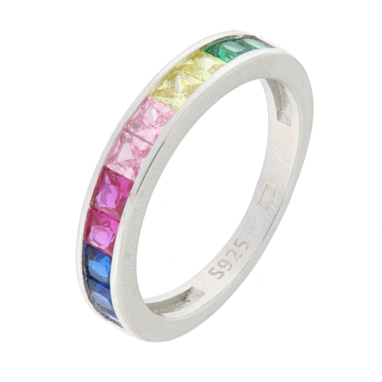 Ring rh.sølv m/multifargede stener