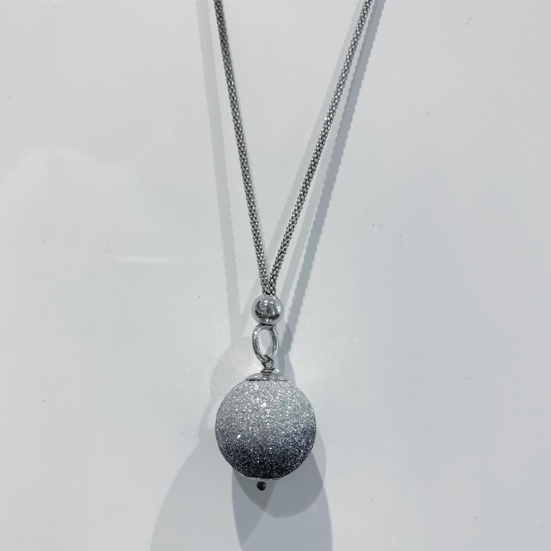 Collier rh.sølv 45cm m/grå 2-ton glitterkule