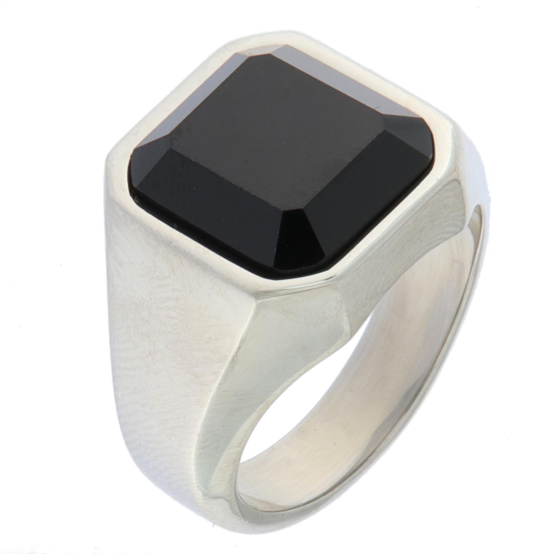 Ring stål m/sort slipt sten13x14mm