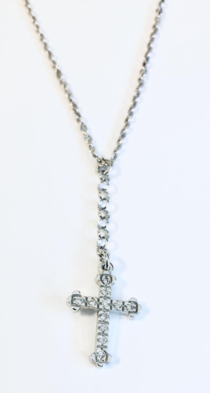 Collier rh.sølv 42+3cm m/kors m/stener