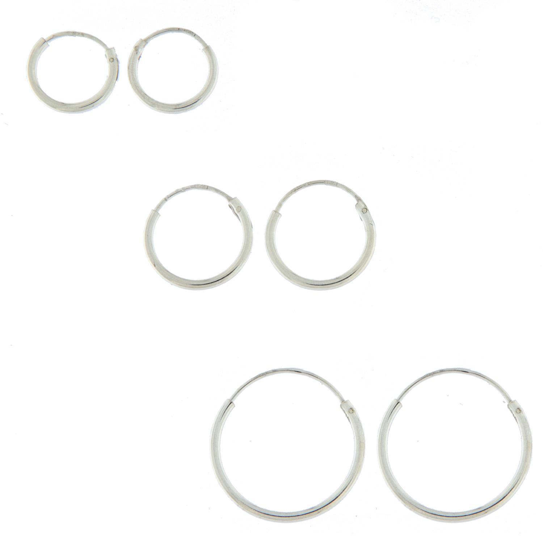 Sett rh.sølv m/3 par øreringer
