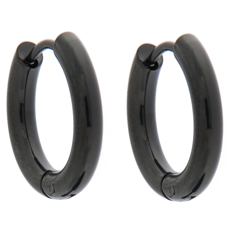 Øreringer sort stål 18Ø ,3mm rund