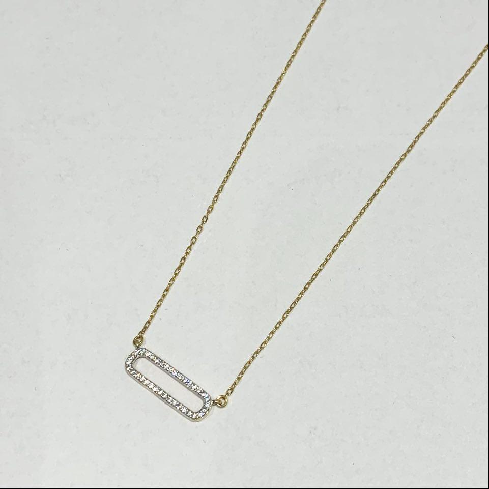 Collier gull bic. m/c.zirconer i åpen oval inkl. 45cm kjede