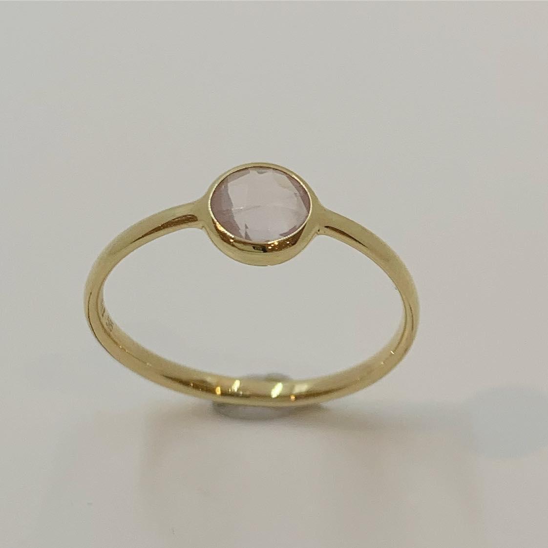 Ring gull m/rosa quartz rund 5mm i fattekant (ekte)