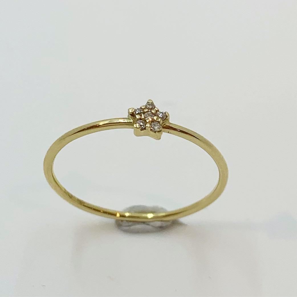 Ring gull liten rosett m/dia. 0,0252ct TCSI