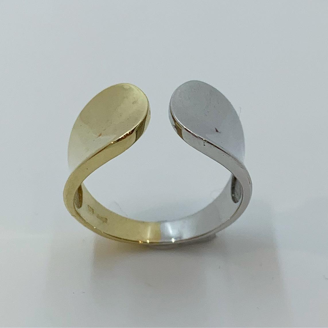 Ring bicolor gull bred m/åpen topp avrundet