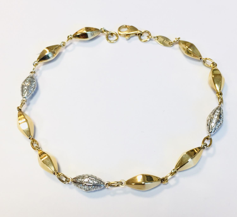 Armlenke gull bic. 19cm m/rombe-formede ledd cz på hvert tredje