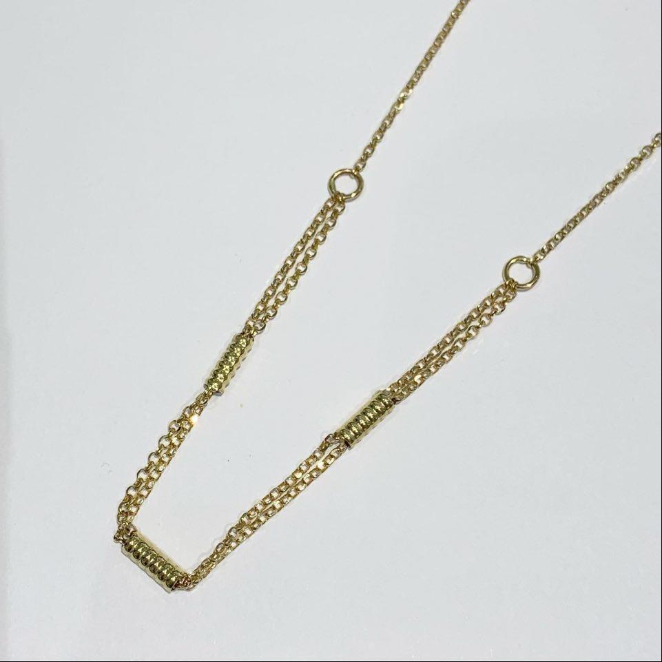 Collier gull 45cm slipt ert/2r foran m/vridde tønner