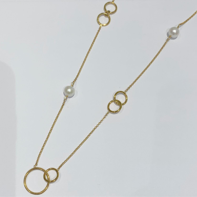 """Collier gull 55cm ertekjede m/ringer+perler på """"Chanel"""""""