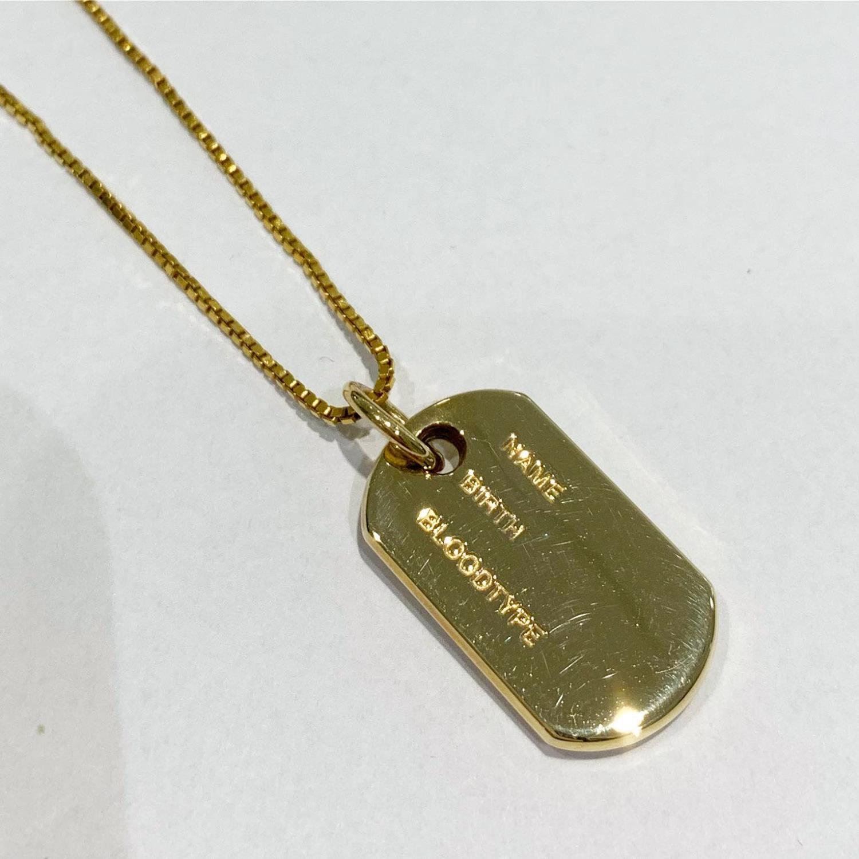 Anheng gull herreplate ID m/navn/dato/blodtype