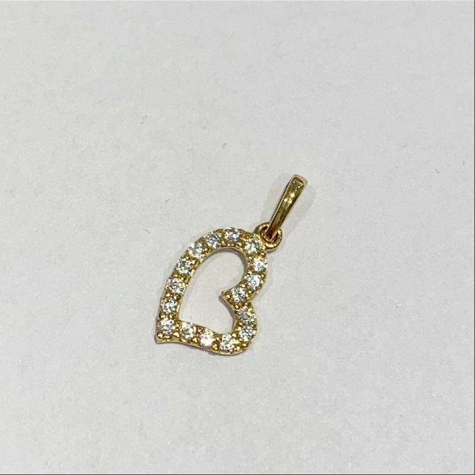 Hjerte gull m/c.zirconer lite/skrått