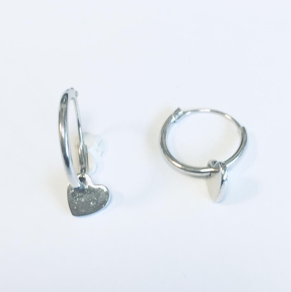 Øreringer i sølv 12Ø m/glatt hjerte