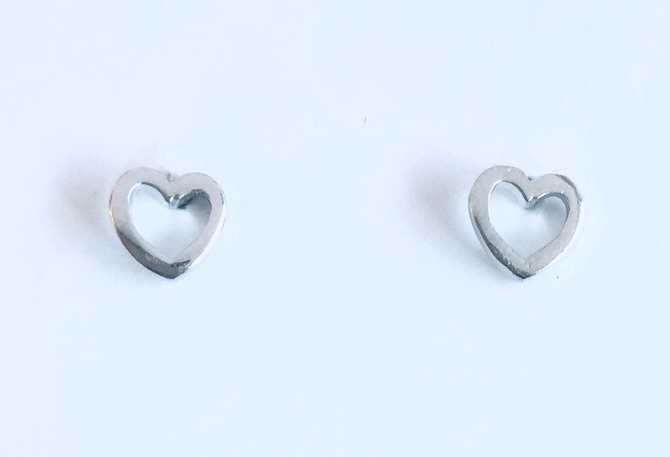 Ørepynt rh.sølv åpent hjerte