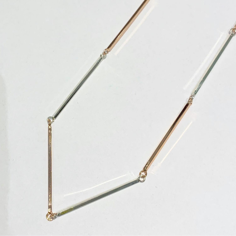 """Collier snø """"Sølv""""/rosè leddet smalt 42cm plain, pinner"""