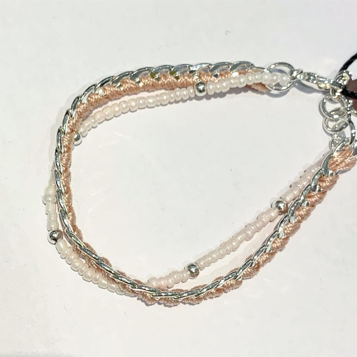 """Armlenke """"sølv"""" 2r lysrosa små perler/pz m/tråd"""