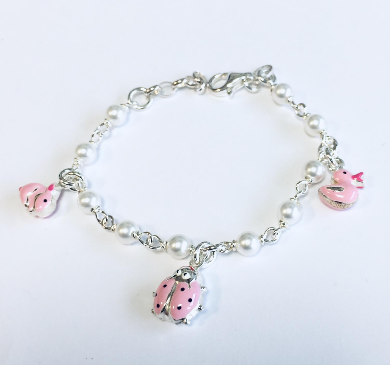 Armlenke sølv 14cm m/perler+rosa emalje figurer