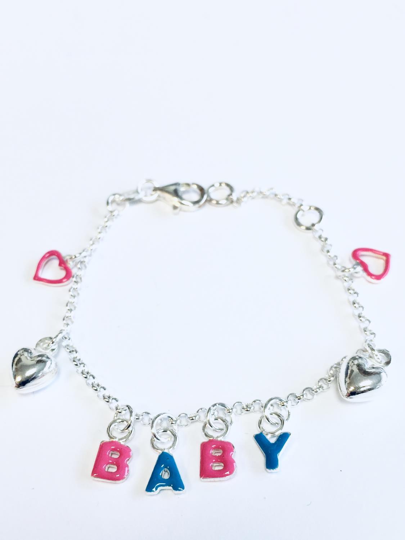 Armlenke sølv m/BABY i rosa/blå emalje+sølvhjerter