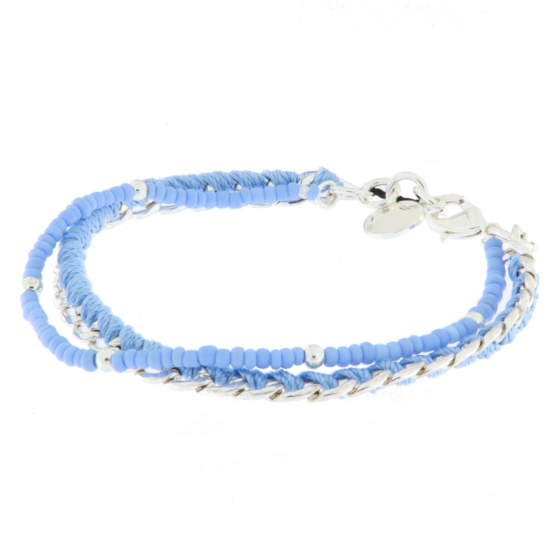 """Armlenke """"sølv"""" 2r lysblå små perler/pz m/tråd"""