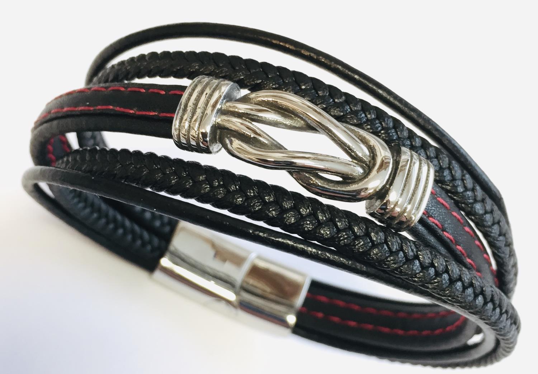 Armlenke stål 5R sort skinn m/røde sømmer