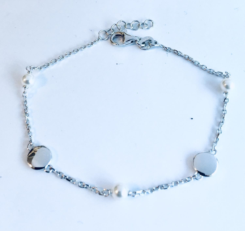 Armlenke rh.sølv 17+2cm m/glatte plater+små perler
