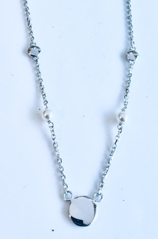 Collier rh.sølv 40+3cm m/glatte plater+små perler