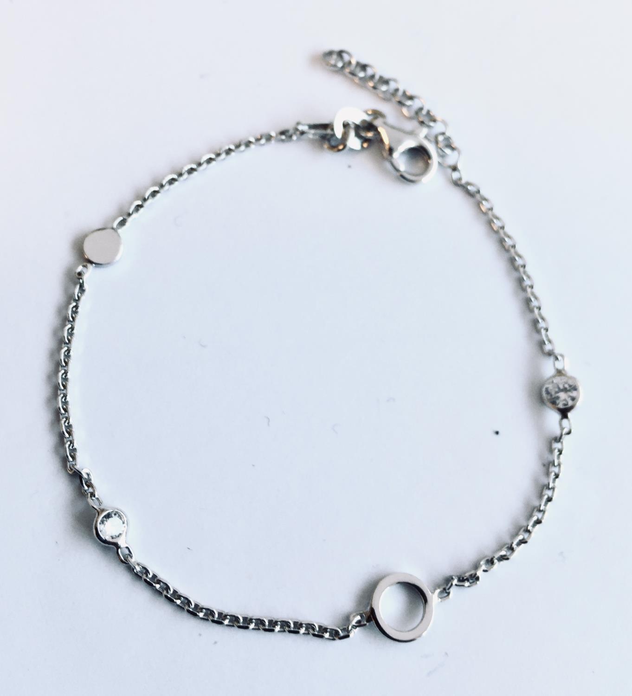 Armlenke rh.sølv 17+2cm m/små stener/åpen ring/liten plate