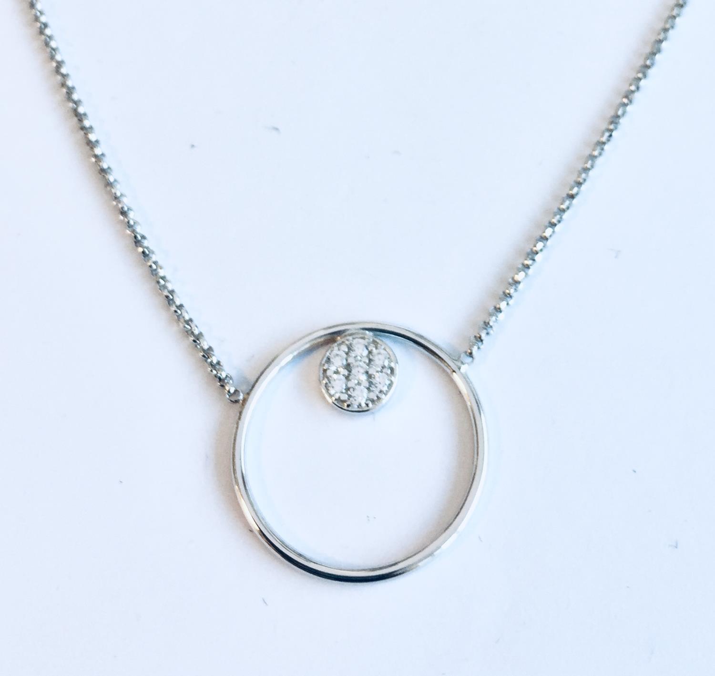Collier rh.sølv 40+3cm m/sirkel+stenrosett