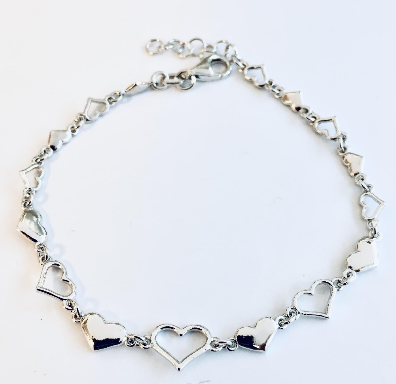 Armlenke rh.sølv 17+2cm m/glatte+åpne hjerter