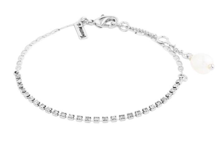 """Armlenke """"sølv"""" strass m/blanke stener+ferskv.perle"""