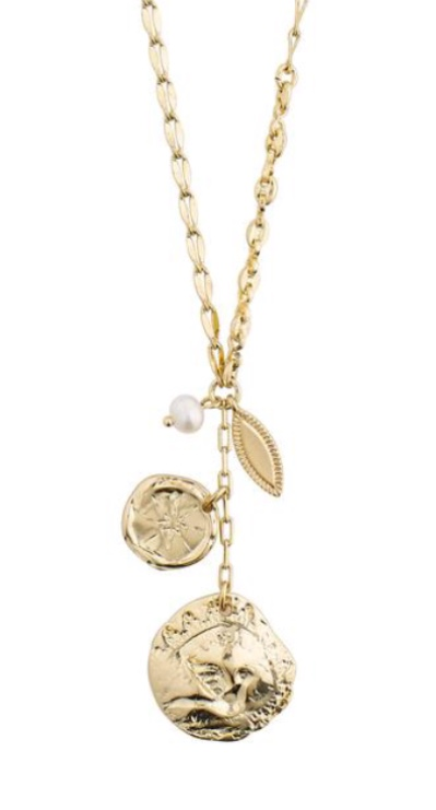 """Collier """"gull"""" kjede m/plater+fv.perle i heng foran"""