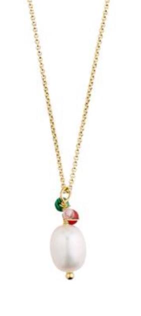 """Collier """"gull"""" tynn ertekjede m/Fv,perle+stener multi"""