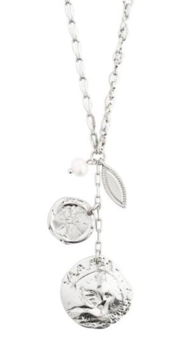 """Collier """"sølv"""" kjede m/plater+fv.perle i heng foran"""