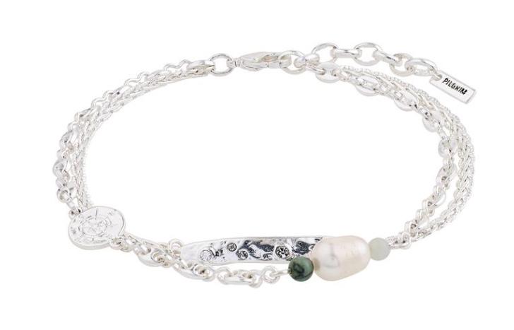 """Armlenke """"sølv"""" 2R m/plater/Fv.perle/grønn Amazonite"""