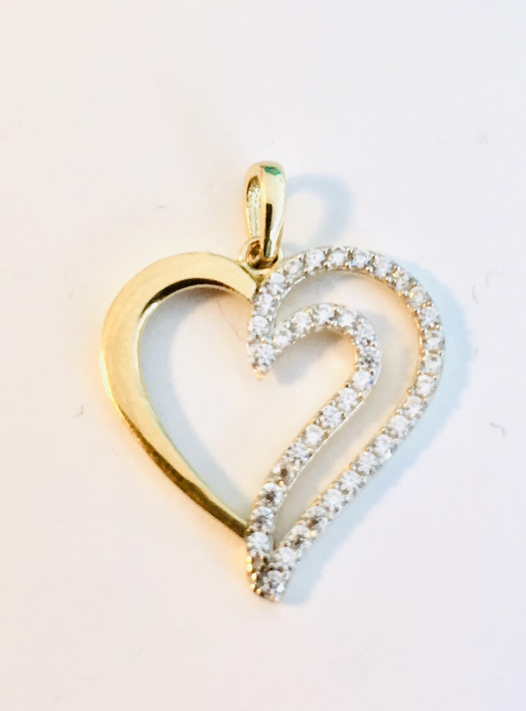 Hjerte gull m/zirconer