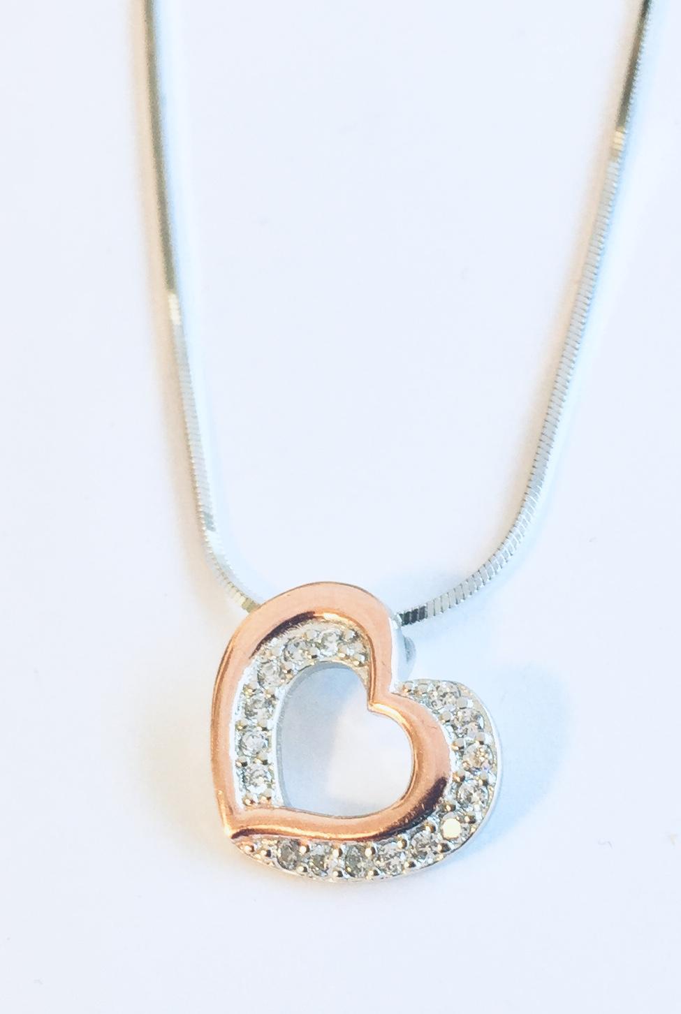 Hjerte rh.sølv m/zirconer og rosè glatt hjerte