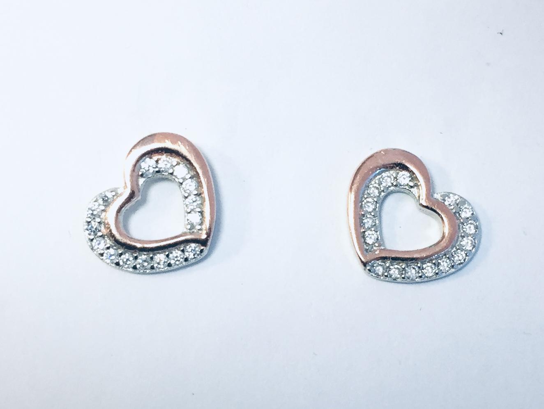 Ørepynt hjerte rh.sølv m/zirconer og rosè glatt hjerte