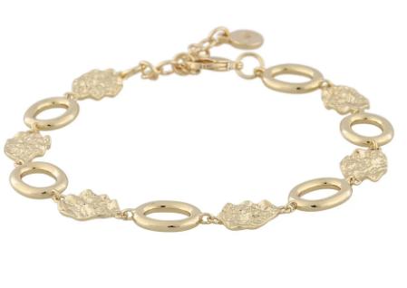 """Armlenke """"gull"""" annenhver banket plate/åpen ring 17+3cm"""
