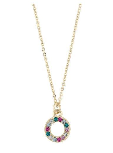 """Collier """"gull"""" 42cm åpen ring m/regnbue-stener rosa mix"""