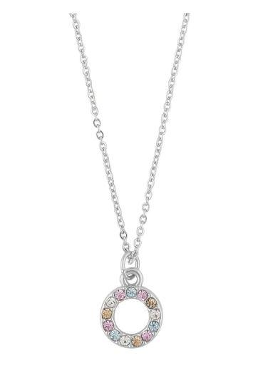 """Collier """"sølv"""" 42cm åpen ring m/regnbue-stener rosa mix"""