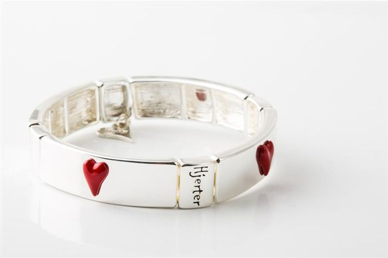 """Armlenke """"sølv"""" leddet (Strikk) m/røde hjerter på"""