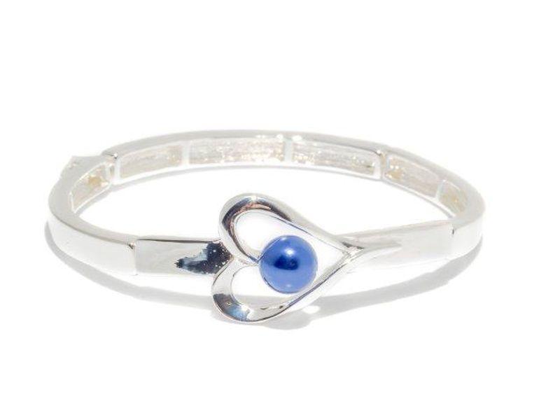 """Armlenke """"sølv"""" leddet/strikk m/hjerte m/blå perle"""