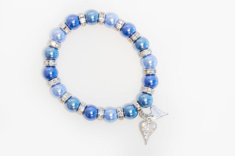 """Armlenke """"sølv"""" m/blå perler+stenringer mellom, strasshjerte"""