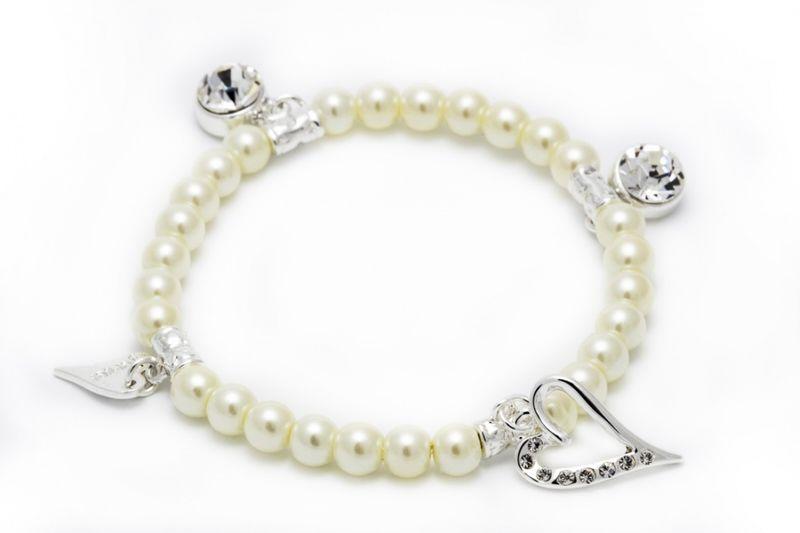 """Armlenke """"sølv"""" perler m/2 sten-charms+stenhjerte hengende på"""