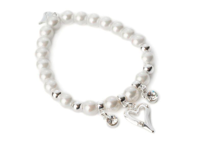 """Armbånd """"sølv"""" hvite perler m/""""sølv""""kuler+2 sten-heng/1 hjerte"""