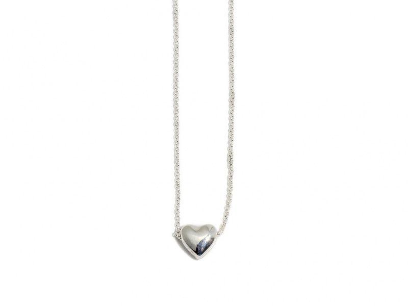 """Collier """"sølv"""" kort m/lite hjerte glatt  FLowergate m/logo"""