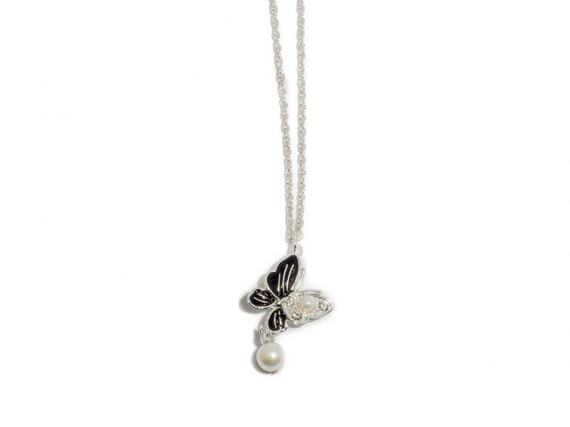 """Collier """"sølv"""" kort m/sommerfugl/stener/sort emalje/perle-heng"""