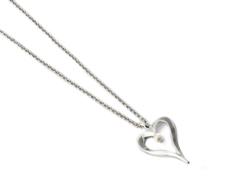 """Collier """"sølv"""" kort m/åpent hjerte og perle inni"""