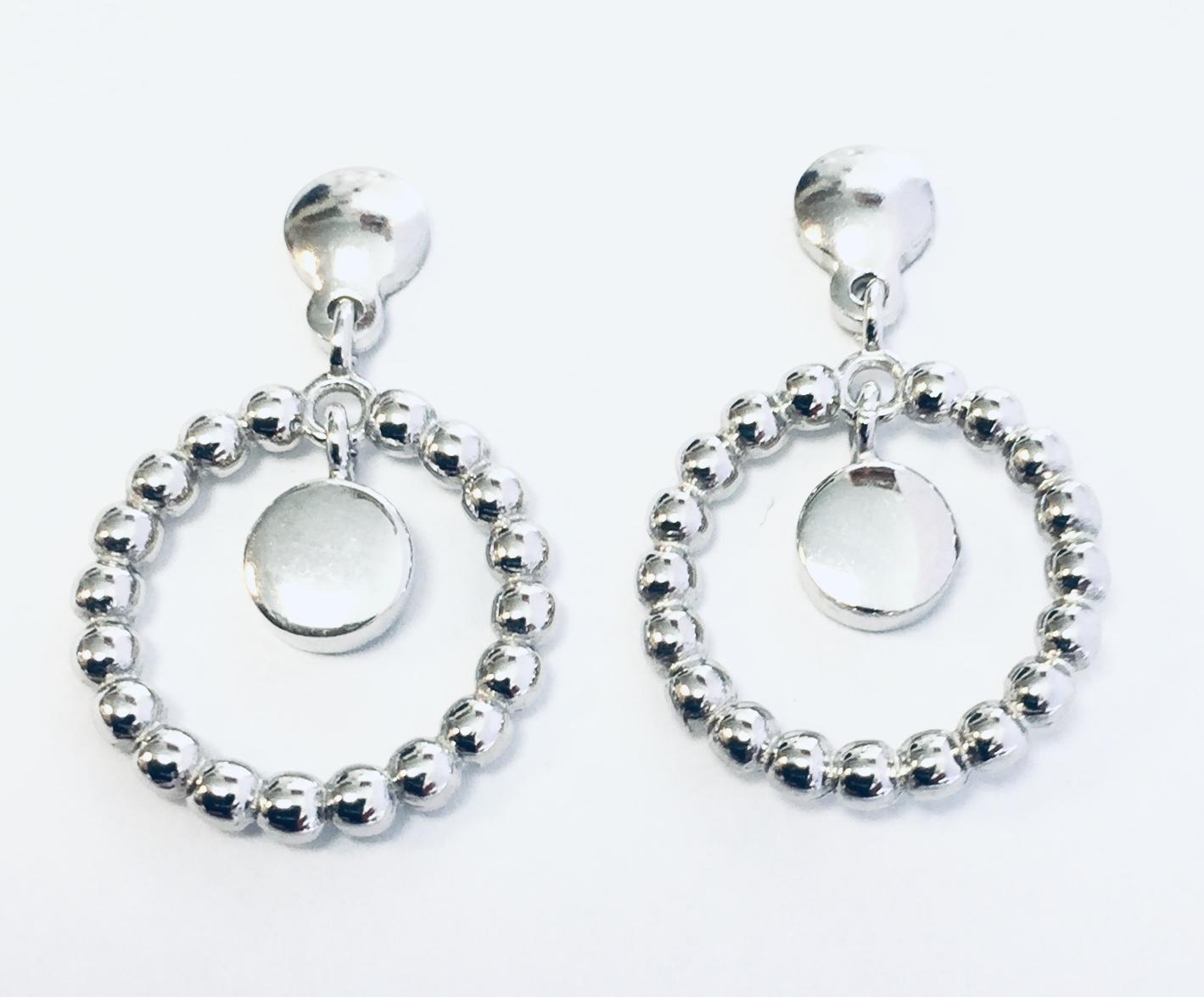 Øreheng rh.sølv sirkel av kuler