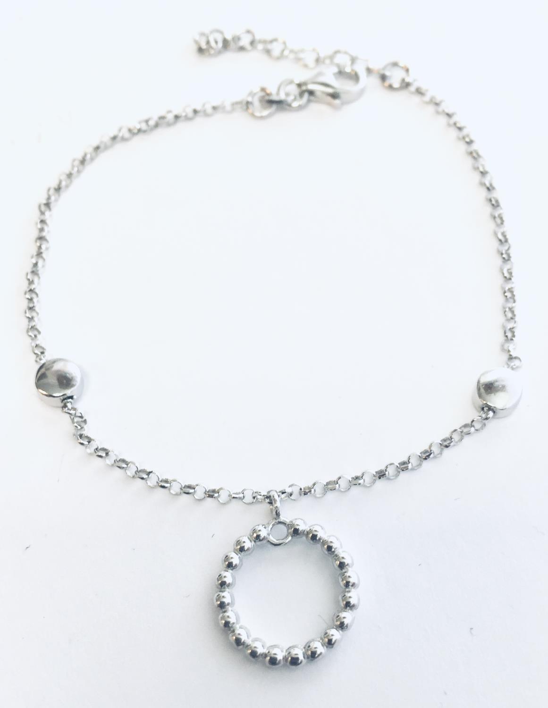 Armlenke rh.sølv 18+2cm m/sirkel av kuler